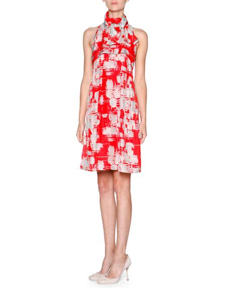 Giorgio Armani Printed Silk Habutai Halter Dress, Multi Red