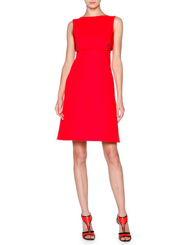 Sleeveless Cotton Overlay Dress, Scarlet