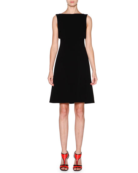 Giorgio Armani Sleeveless Overlay Fit-&-Flare Dress, Black