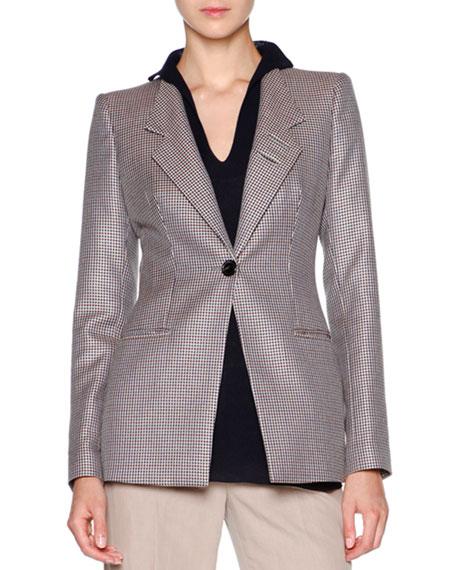 Giorgio Armani Mini-Houndstooth One-Button Jacket, Long-Sleeve