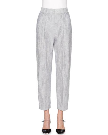 Giorgio Armani Fine-Stripe Cropped Pants, Navy/White