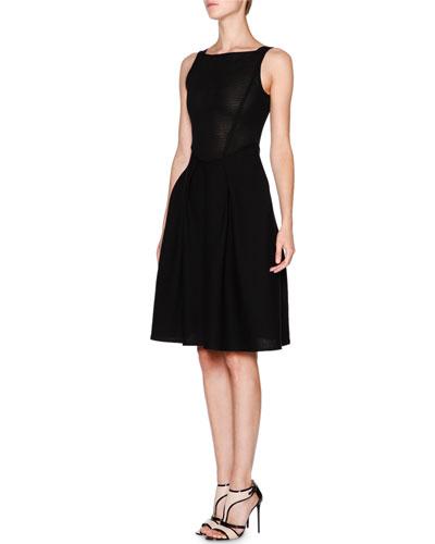 Sleeveless Fit-&-Flare Knit Dress, Black