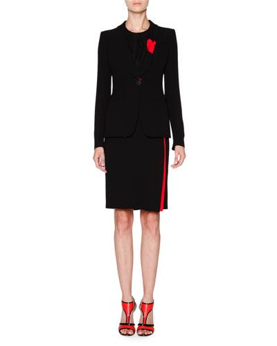 Tuxedo Jacket W/Knotted Lapel, Black/Scarlet