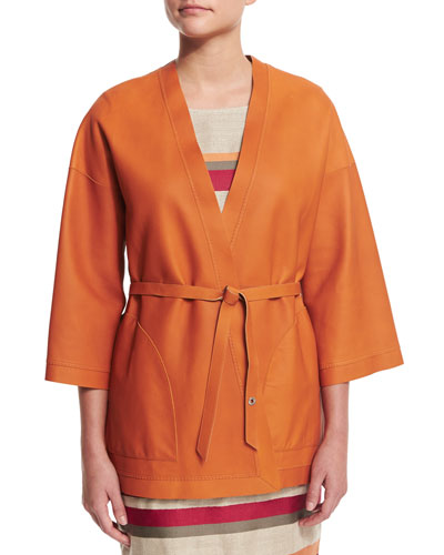 Reversible Leather Kimono Jacket, Sughero/Alkekengi