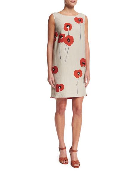Loro Piana Sleeveless Poppy-Print Linen Shift Dress, Oats/Orange