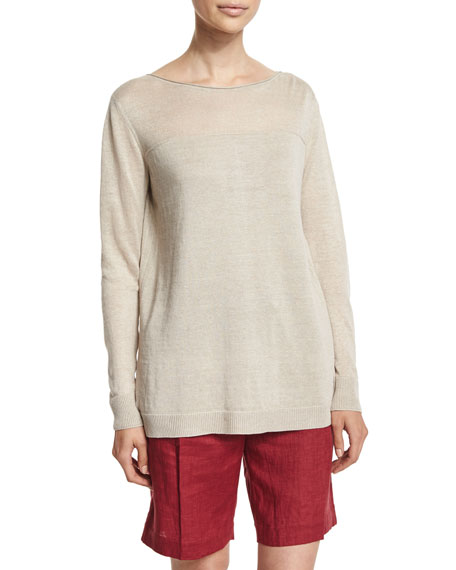 Loro Piana Long-Sleeve Back-Pleat Tunic, Raw Linen
