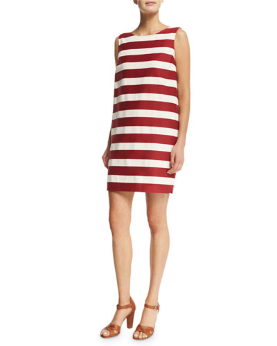 Renee Sleeveless Shift Dress, White/Black/Cherry