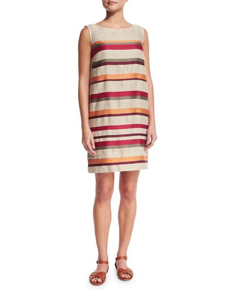 Loro Piana Fancy Stripe Sleeveless Shift Dress, Orange Red Fancy