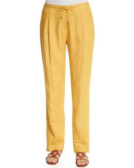 Loro Piana Larrie Drawstring-Waist Linen Pants, Honey Light