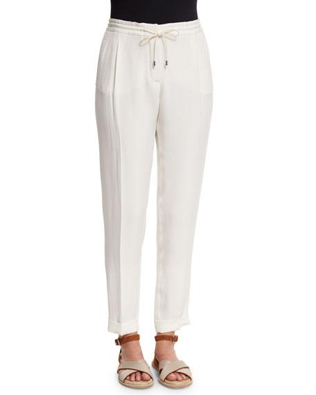 Loro Piana Danny Slim-Leg Drawstring Pants, White