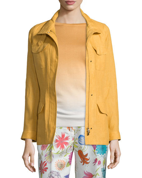 Loro Piana Lady Linen Traveler Jacket, Honey Light Gold
