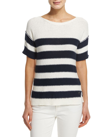 Loro Piana Short-Sleeve Wide-Striped Top, Ombre Blue Fancy