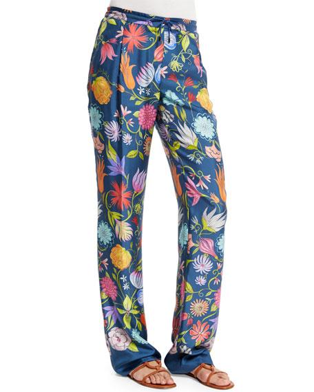 Loro Piana Floral-Print Drawstring-Waist Pants, Galles Gold
