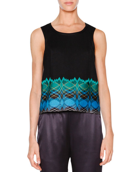 Missoni Sleeveless Stereo-Hem Crop Top, Black/Turquoise/Green