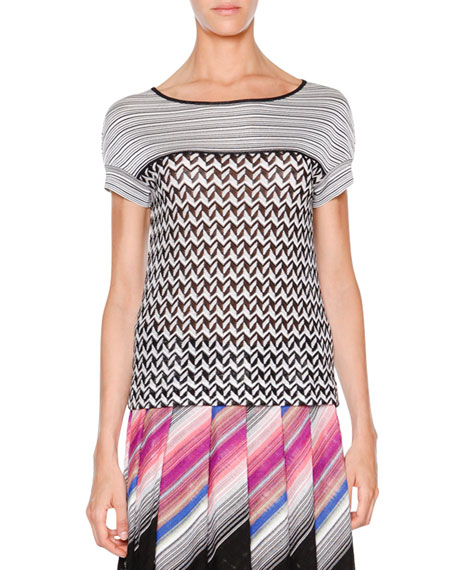 Missoni Short-Sleeve Contrast Tunic Top, Black/White