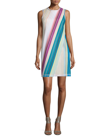 Missoni Sleeveless Striped Faux-Wrap Dress, Beige/Multi/Brite