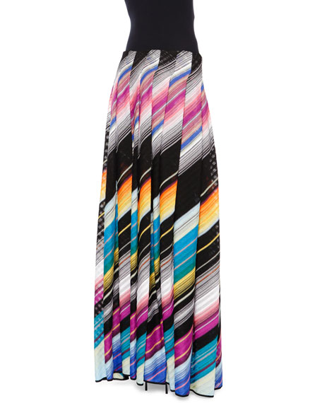 Angled-Stripe Maxi Skirt, Black Multi