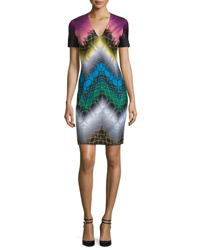 Short-Sleeve V-Neck Sheath Dress, Black/Multi