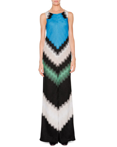 Missoni Sleeveless Wide-Leg Jumpsuit. Green/Black