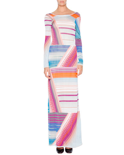 Long-Sleeve Intarsia-Striped Gown, Gray/Blue/Orange/Magenta