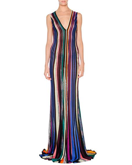 Missoni Sleeveless Striped Godet Gown, Black Multi