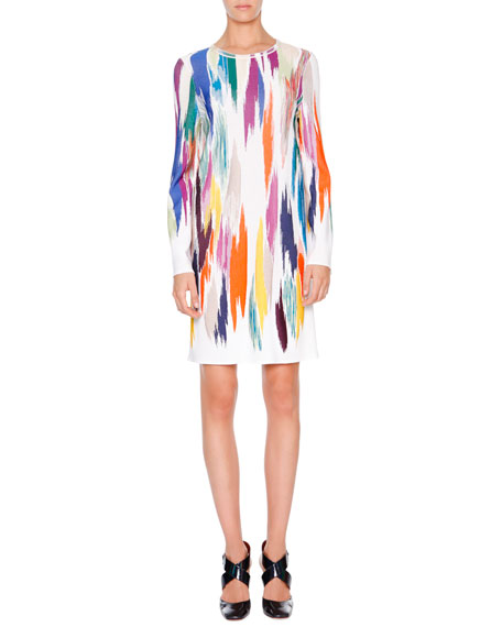 Missoni Long-Sleeve Intarsia Sheath Dress, White Multi