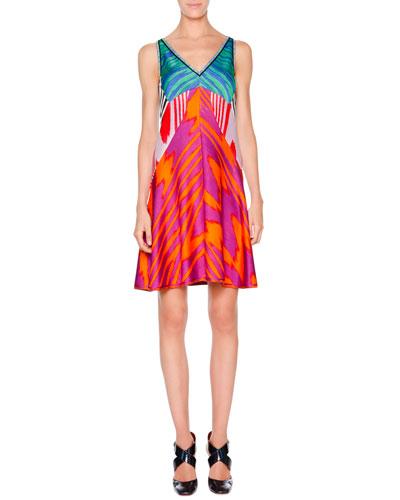 Patchwork Tie-Dye Flame Dress, Orange/Magenta Multi
