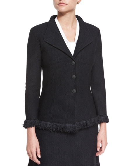 St. John Collection Linea Knit Jacket with Fringe, Caviar