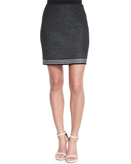 St. John Collection Diamante Knit Mini Skirt, Caviar/White