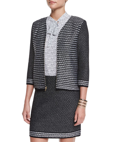 St. John Collection Fiore Diamante Knit Zip Jacket,