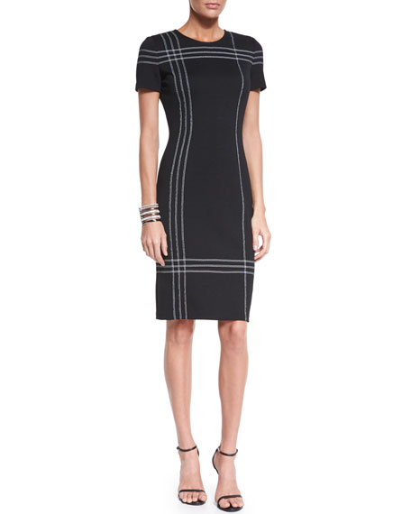 St. John Collection Milano Knit Short-Sleeve Stitched Dress