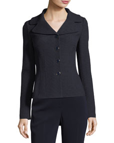 St. John Collection Micro Boucle Knit Fitted Jacket, Navy