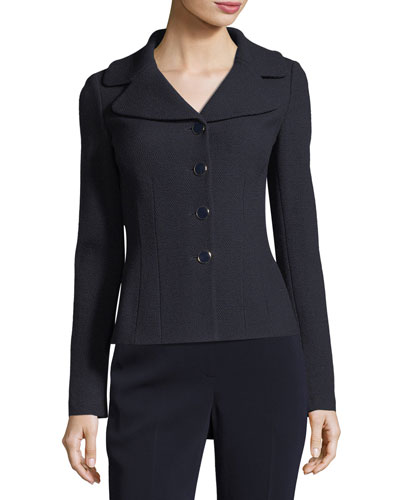 Micro Boucle Knit Fitted Jacket, Navy