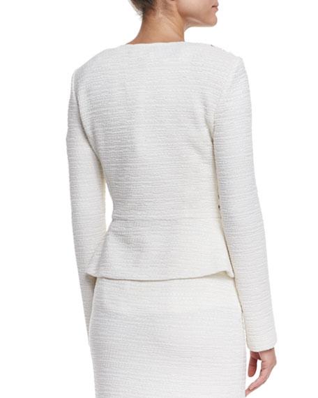 Bella Knit Sequin Peplum Jacket, Cream Multi