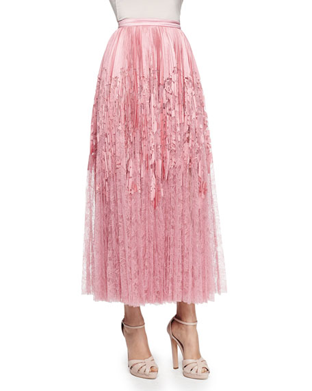 High-Waist Plisse Midi Skirt, Pink