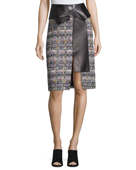Alexander McQueen Leather-Trimmed Tweed Skirt, Navy Mix