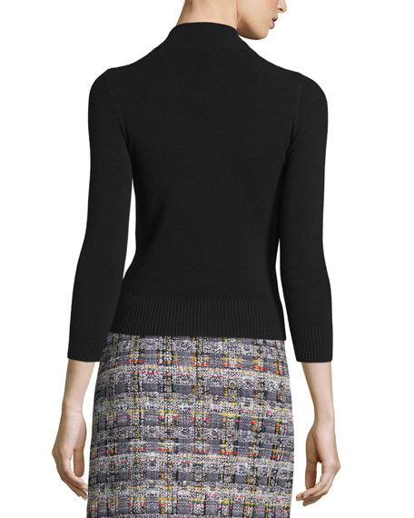 Floral-Embellished Cashmere Sweater, Black/Multi