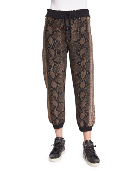 Alexander McQueen Drawstring-Waist Jogger Pants, Brown/Multi
