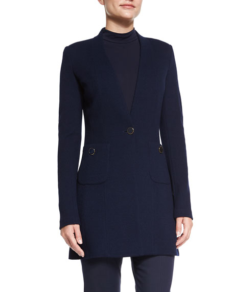 Milano Pique Knit V-Neck Jacket, Navy
