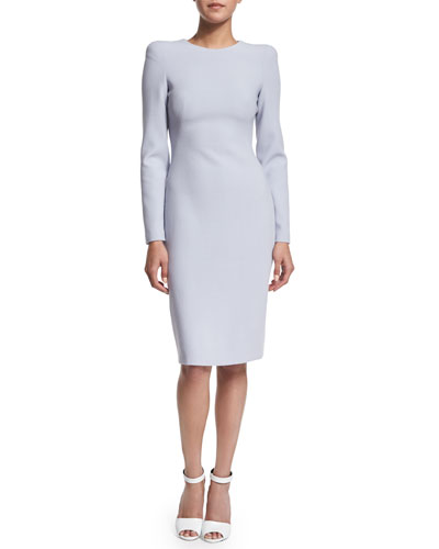 Long-Sleeve Jewel-Neck Sheath Dress, Cloud Blue