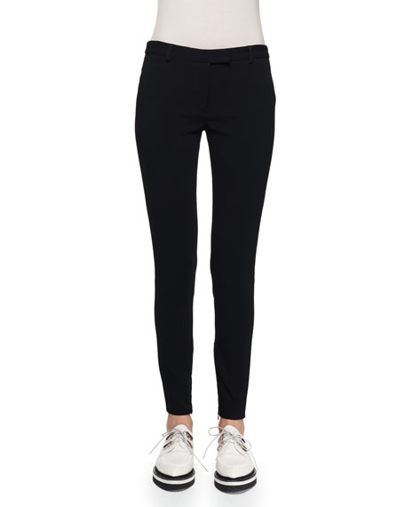 Alexander McQueen Ankle-Zip Legging Pants, Black