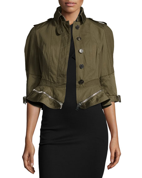 Alexander McQueen Button-Front Zip-Off Peplum Jacket, Khaki
