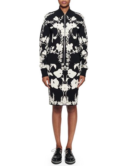 Alexander McQueen Floral-Print Jacquard Jacket, Black/Ivory
