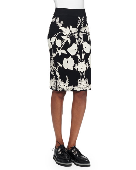 Alexander McQueen Floral-Print Jacquard Pencil Skirt, Black/Ivory