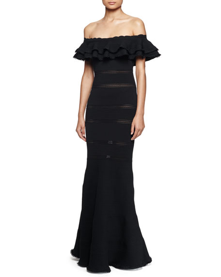 Alexander McQueen Off-the-Shoulder Ruffle Knit Gown