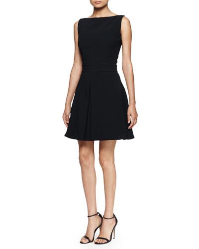 Pleated-Skirt Tank Dress, Black