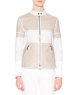Two-Tone Leather Biker Jacket, Stone/White
