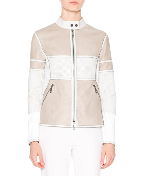 Callens Two-Tone Leather Biker Jacket, Stone/White