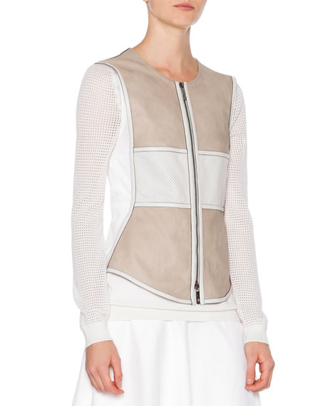 Callens Two-Tone Leather Vest, Stone/White
