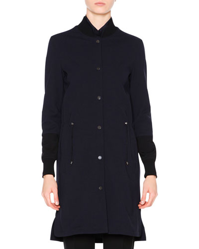 Long Bomber Techno Coat, Navy